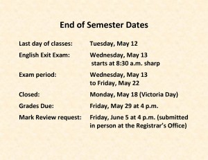 End of Semester Dates